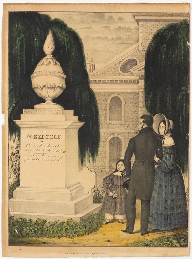 Couple and daughter to right of tomb