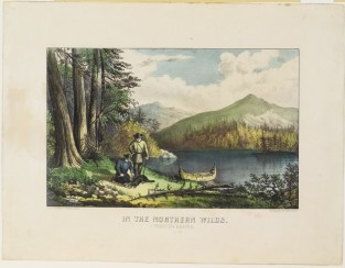 In The Northern Wilds. Trapping Beaver., Currier & Ives
