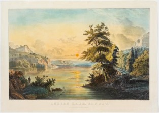 Indian Lake – Sunset, Currier & Ives