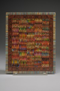 Jennifer Maestre, Tablet, 2011, pencils and epoxy, 13 x 10.25 x .25 inches, On loan from the artist