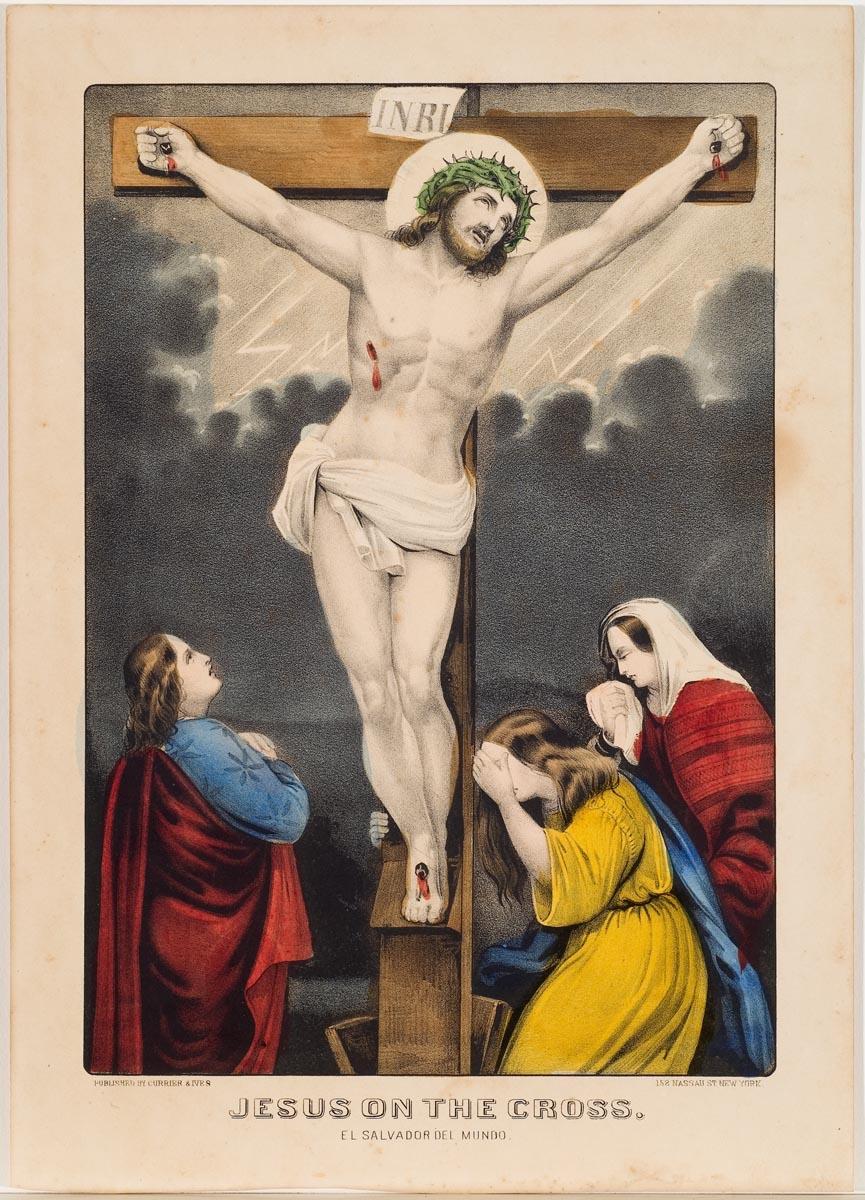 Jesus at center on cross