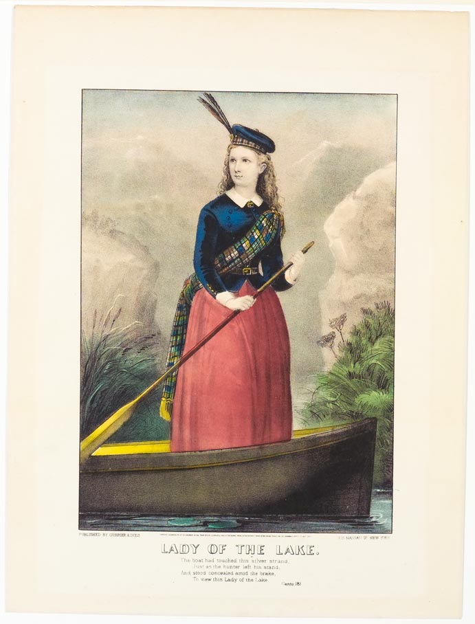 Woman standing up with oar in her hand in a row boat