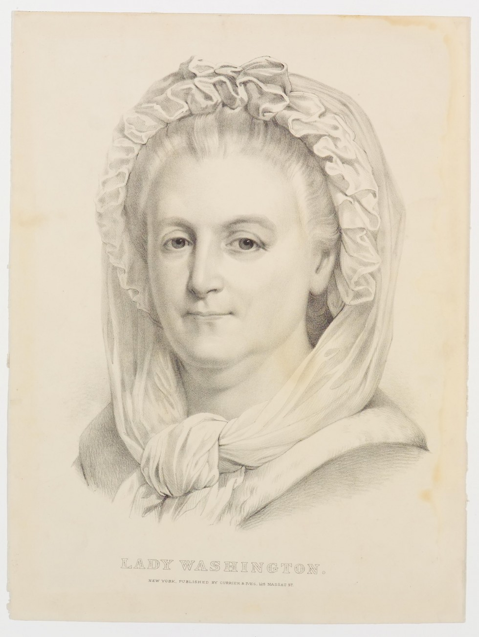 Black and white sketch of shoulder view of older woman with head covered in ruffled scarf and tied at center under neck