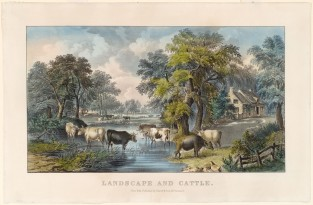 Landscape And Cattle, Currier & Ives