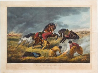 Life On The Prairie: The Trappers Defence, Currier & Ives