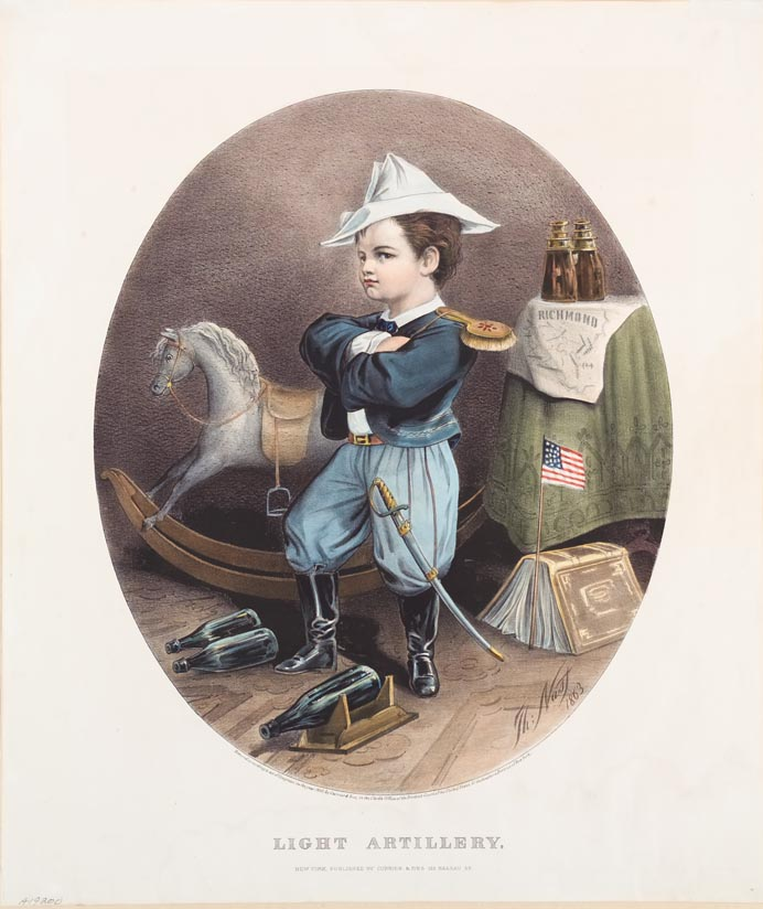 Boy dressed as soldier rocking horse behind