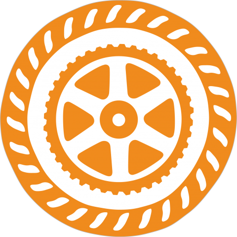 Orange, circular medallion with a gear at the center.