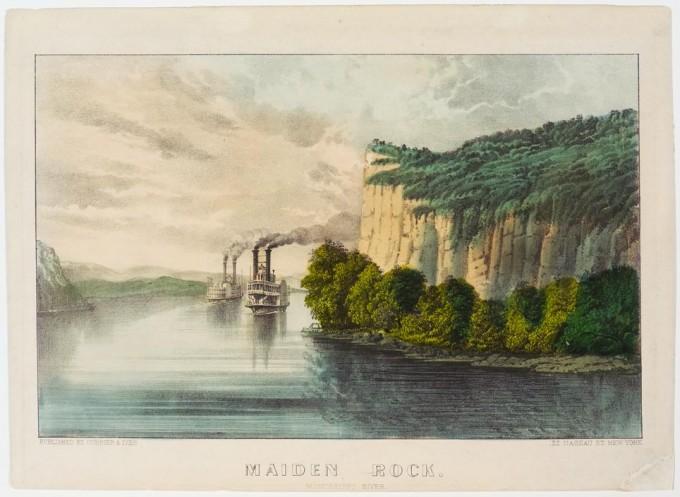 Maiden Rock Mississippi River Currier Amp Ives