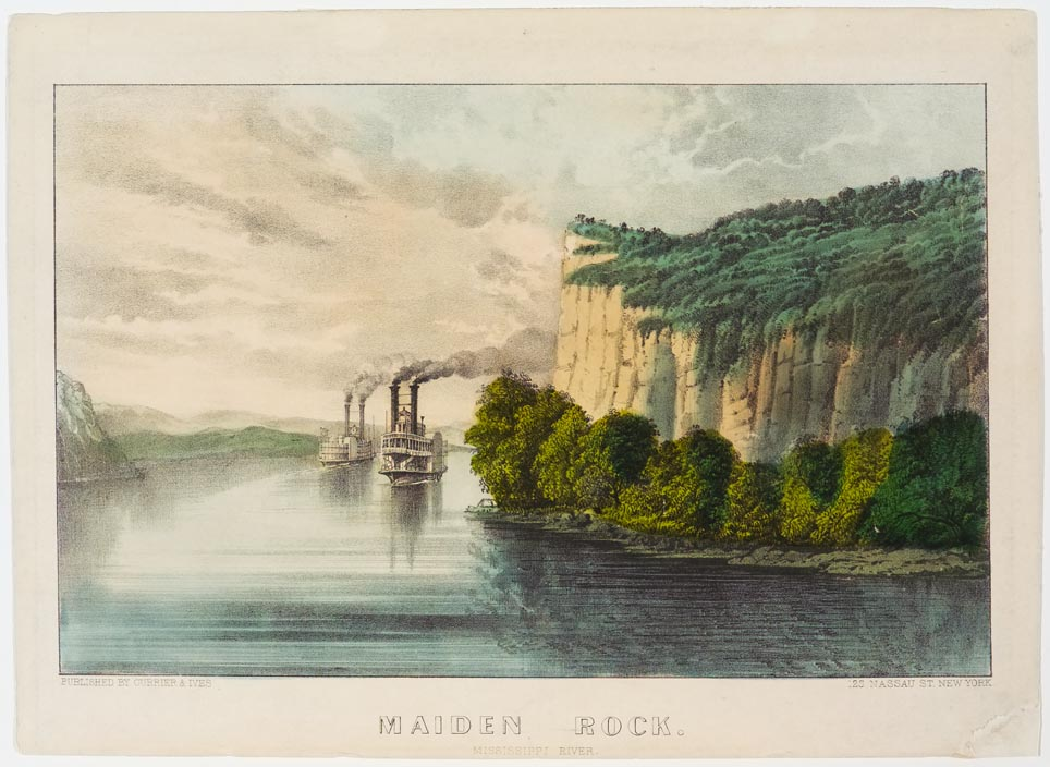 Daylight river scene of cliffs to right and two steamships coming down river toward viewer