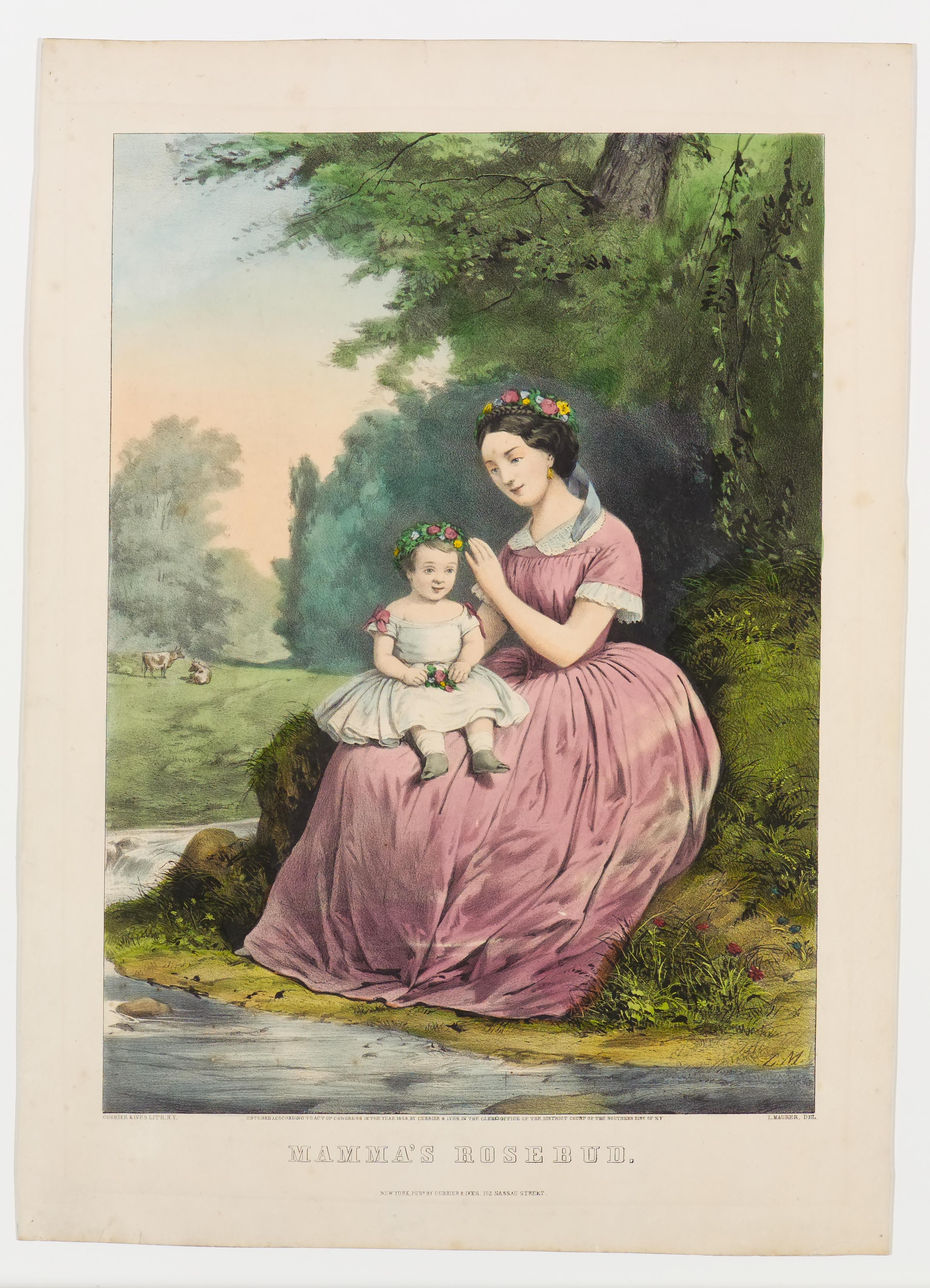 Seated woman and child along riverbank; child facing center