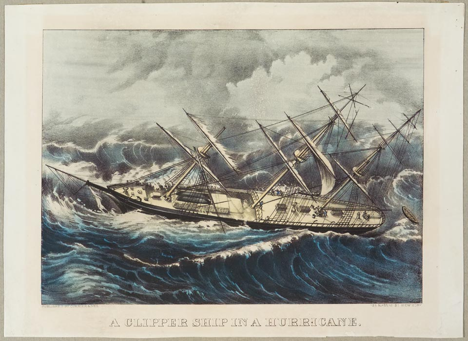 Clipper ship sailing to left in image on stormy seas
