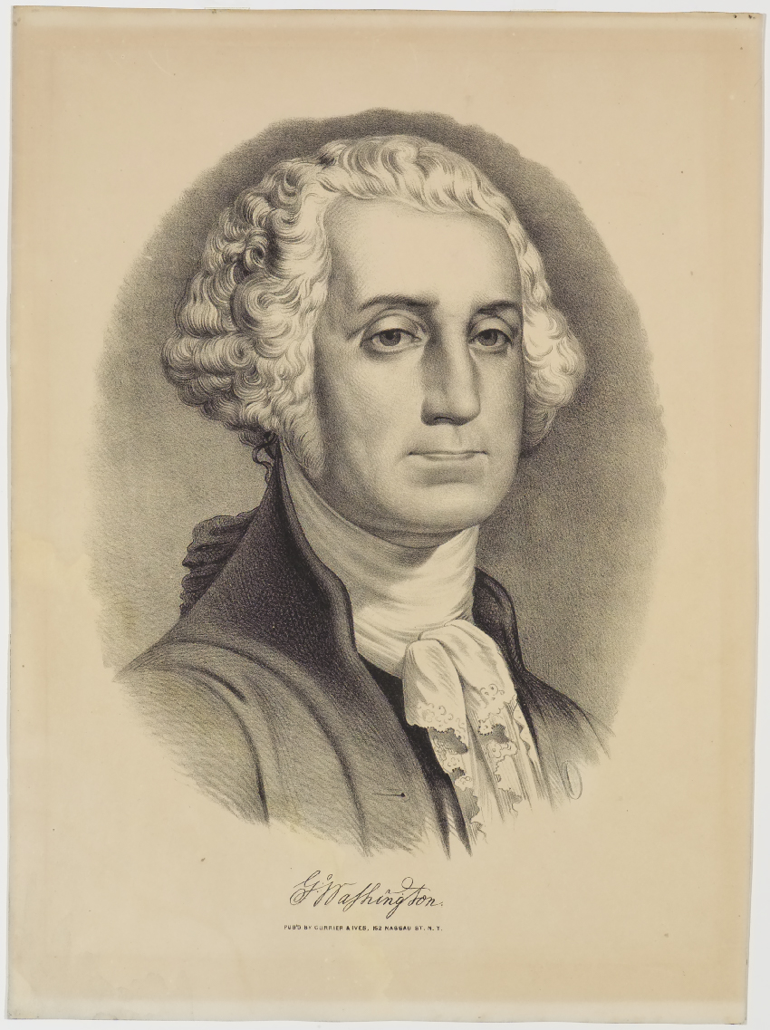 Portrait- shoulder length of George Washington turned to his right facing viewer