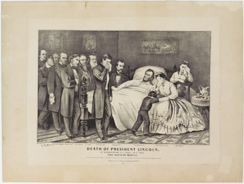 President Lincoln lying on bed surrounded by officials with May and children crying at his side