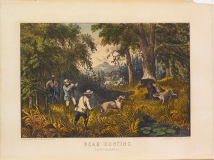 Bear Hunting. Close Quarters., Currier & Ives