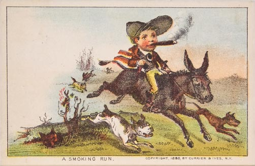 Man smoking cigar riding donkey surrounded by dogs running alongside