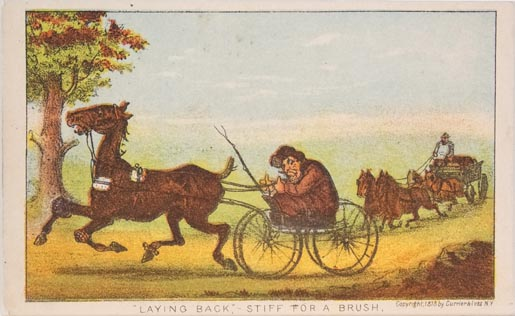 Man in buggy behind horse; man in wagon with a four team in rear background