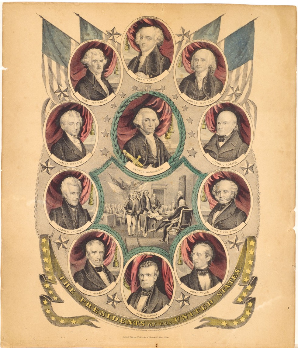 Ten Presidents of the United States in ovals around oval of George Washington in upper center