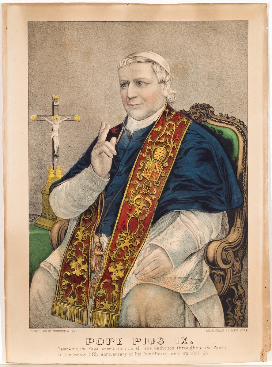 Pope Pius IX seated at center with two fingers of right hand raised in benediction