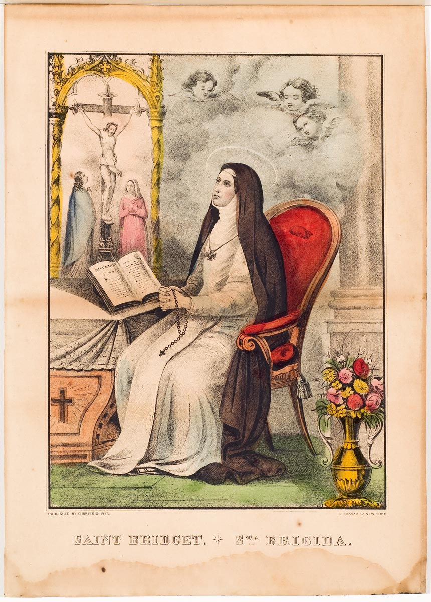 Woman seated at center wearing a robe and habit