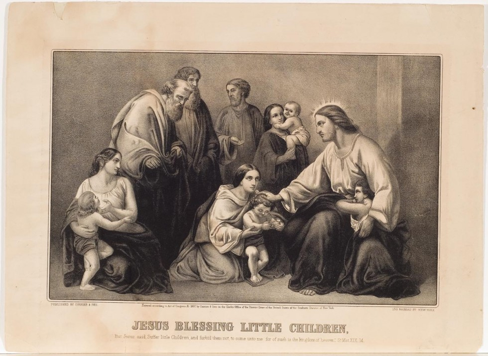 Jesus seated at far right with child leaning at his lap