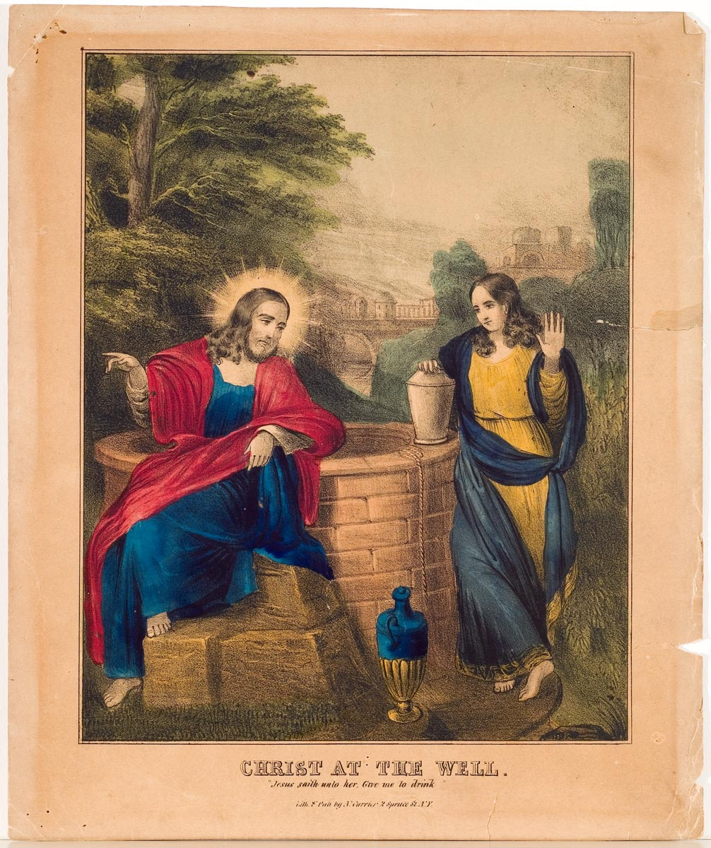 Christ seated on step aside well