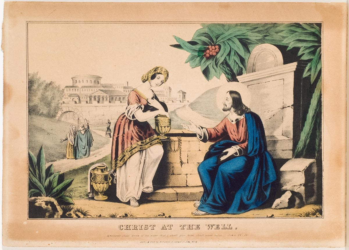 Christ seated to right of well