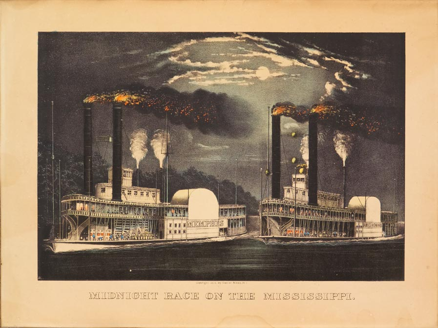 Night scene of two steamships - MEMPHIS to left and JAMES HOWARD to right