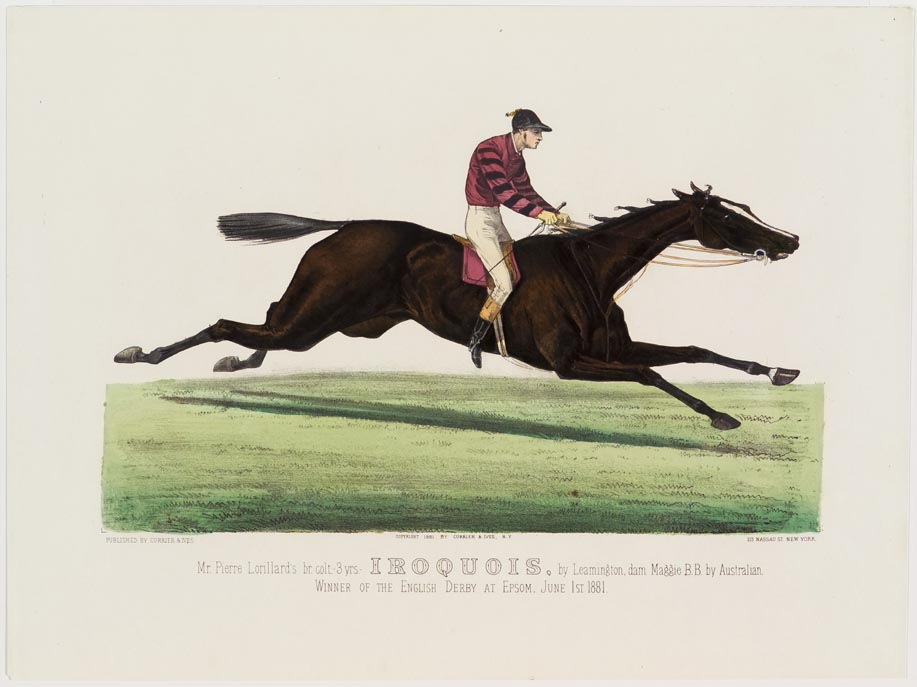 Rider and horse racing to right in image