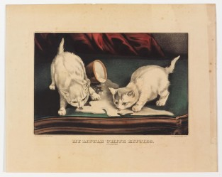 My Little White Kitties Into Mischief, Currier & Ives