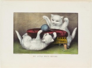 My Little White Kitties. Playing Ball, Currier & Ives