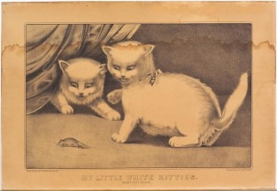 My Little White Kitties. Their First Mouse., Currier & Ives