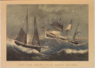 Off The Coast In A Snow Storm. Taking A Pilot, Currier & Ives