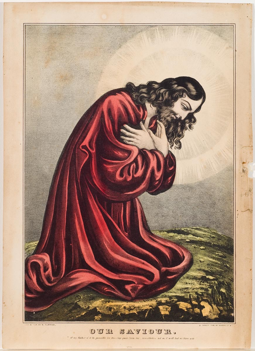 Christ kneeling facing viewer's right wearing a red robe