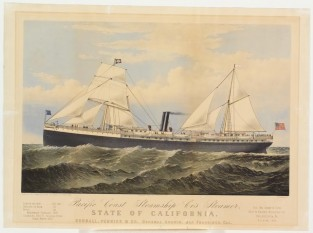 Pacific Coast Steamship Co's Steamer, STATE OF CALIFORNIA. Goodall, Perkins & Co. General Agents, San Francisco, CA, Currier & Ives