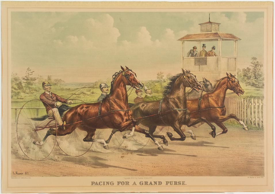 Four drivers and horses riding to right in image along a track in front of a judge's stand where there are three men