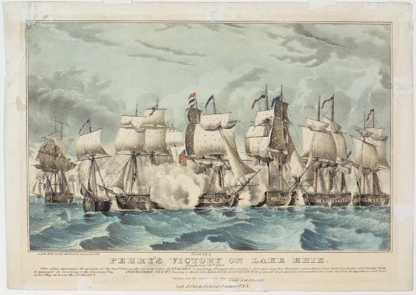 Ocean battle scene - the hulls of 7 ships visible