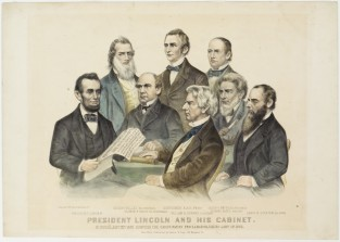 President Lincoln And His Cabinet. In Council, Septe. 22nd 1862, Adopting The Emancipation Proclamation, Issued Jany 1st 1863., Currier & Ives
