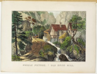 Puzzle Picture. Old Swiss Mill, Currier & Ives
