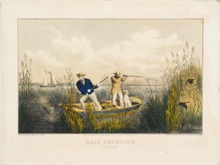 Rail Shooting. On The Delaware, Nathaniel Currier