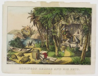Robinson Crusoe And His Pets, Currier & Ives