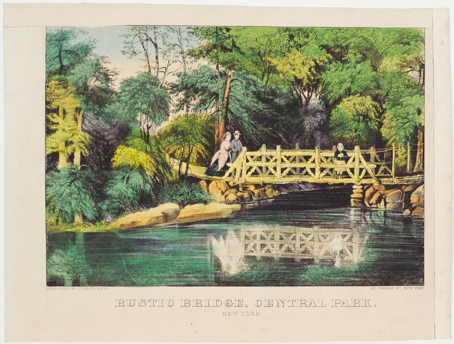 Couple crossing from left over bridge