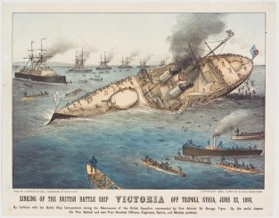 Sinking Of The Battle Ship VICTORIA Off Tripoli, Syria, June 22, 1893, Currier & Ives