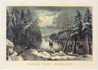 Skating Scene – Moonlight, Currier & Ives