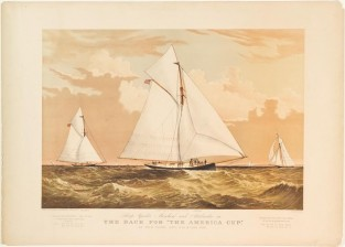 "Sloop Yachts MISCHIEF And ATLANTA In The Race For ""The America Cup"", Currier & Ives"