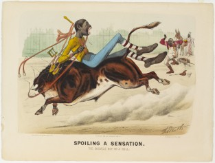 Spoiling A Sensation. The Bicycle Boy On A Bull, Currier & Ives