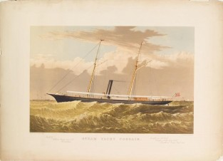 Steam Yacht CORSAIR, Currier & Ives