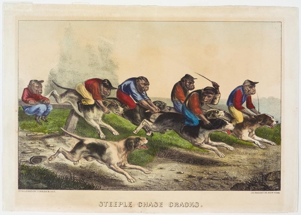 Dogs ridden by monkeys across fields