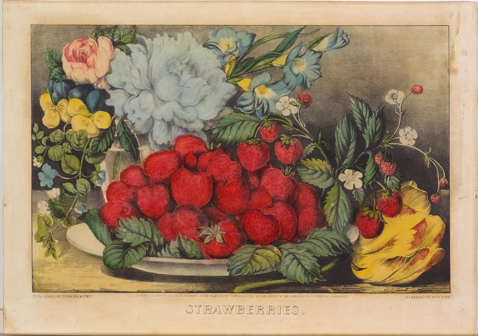 Dish of strawberries at center with flowers in vase behind at left