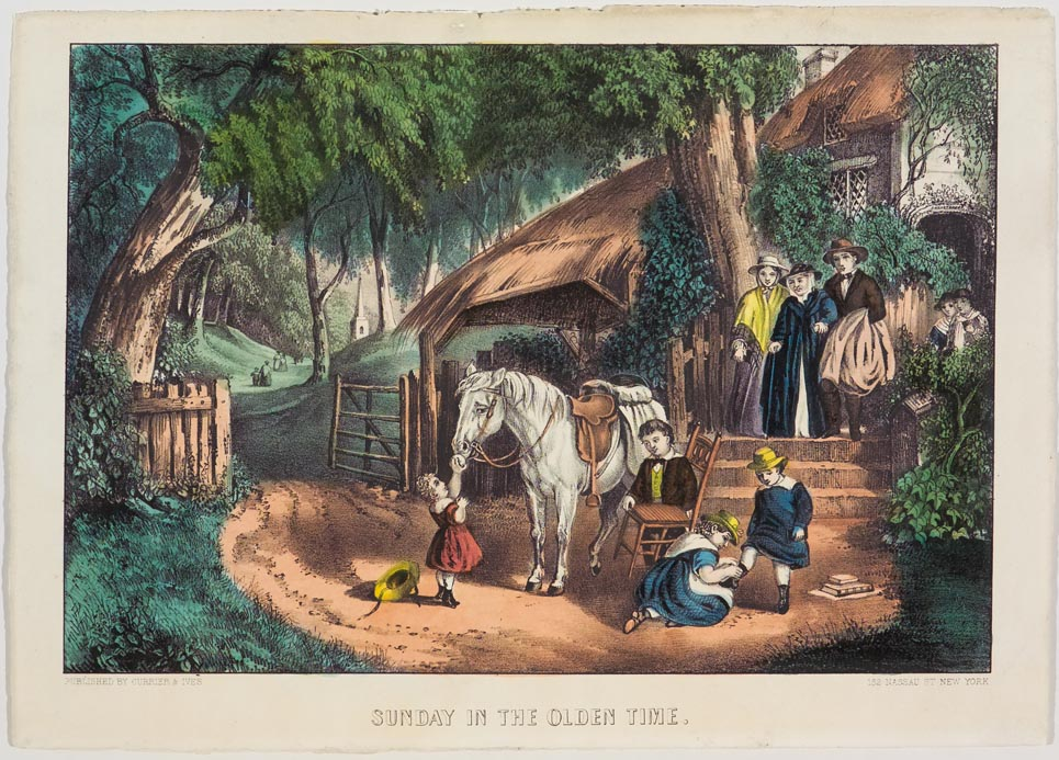 Pastoral scene of children at center