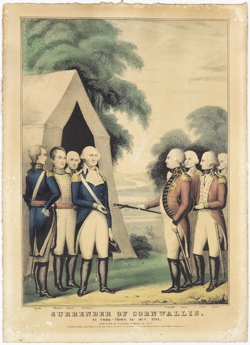 Washington to left of center accepting sword from Cornwallis to right of center